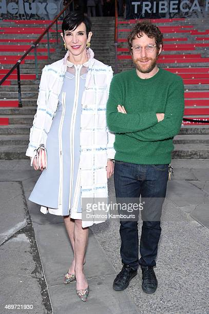 Author Amy Fine Collins and artist Dustin Yellin attend the Vanity Fair Party during the 2015 Tribeca Film Festival at the New York State Supreme...