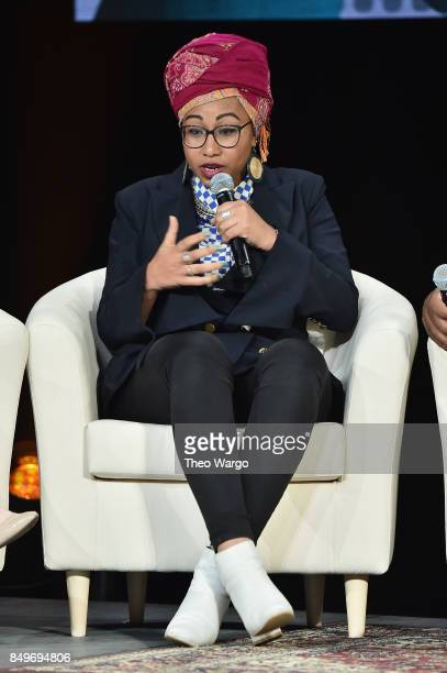 Author and activist Yassmin AbdelMagied speaks onstage during Global Citizen Movement Makers at NYU Skirball Center on September 19 2017 in New York...