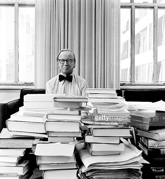 Author and American historian Arthur Schlesinger Jr poses at his office in 1974 in New York City
