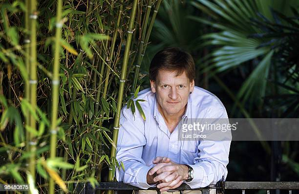 Author and contributing editor to Vanity Fair Michael Lewis poses for a portrait session for the Los Angeles Times at the Chateau Marmont Hotel on...