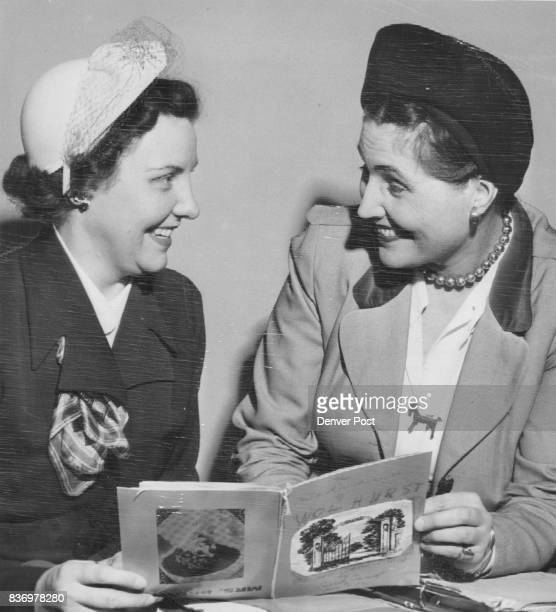 Author and FanMiss Caroline Bancroft Denver writer and researcher shows the 'dummy' of her new booklet 'The Melodrama of Wolhurst' to Mrs Marie Smith...