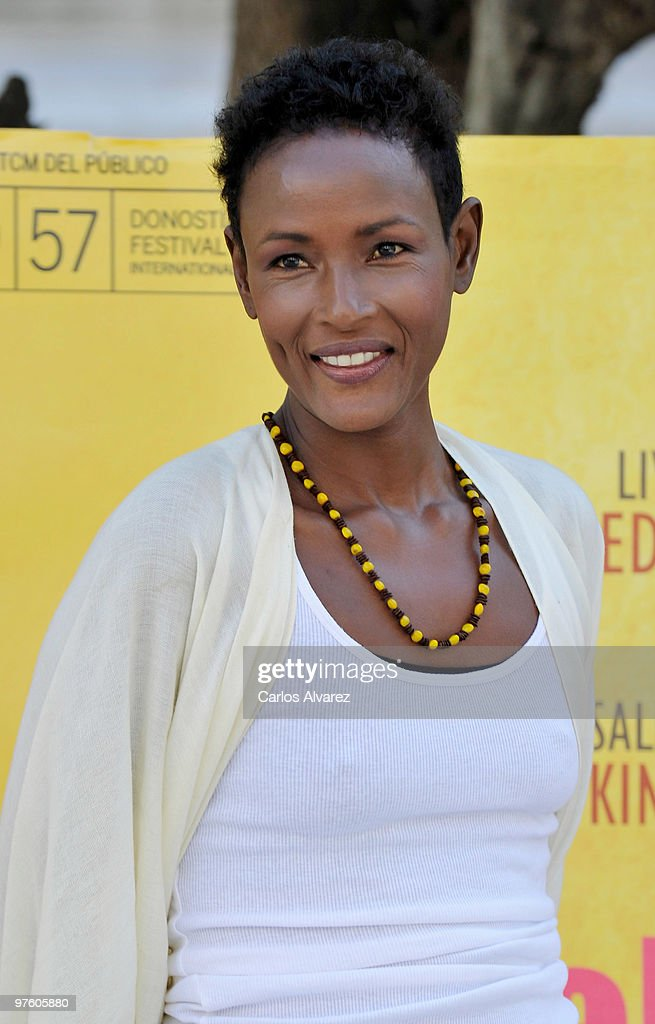 Author and former model <a gi-track='captionPersonalityLinkClicked' href=/galleries/search?phrase=Waris+Dirie&family=editorial&specificpeople=2366489 ng-click='$event.stopPropagation()'>Waris Dirie</a> attends a photocall for 'Flor del Desierto' (Desert Flower) at Golem Cinemas on March 10, 2010 in Madrid, Spain.