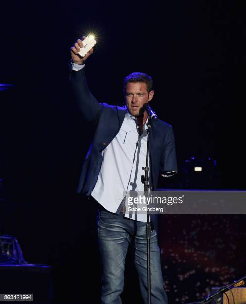 Author and former US Army Sergeant Noah Galloway speaks during 'Vegas Strong A Night of Healing' at the Orleans Arena on October 19 2017 in Las Vegas...