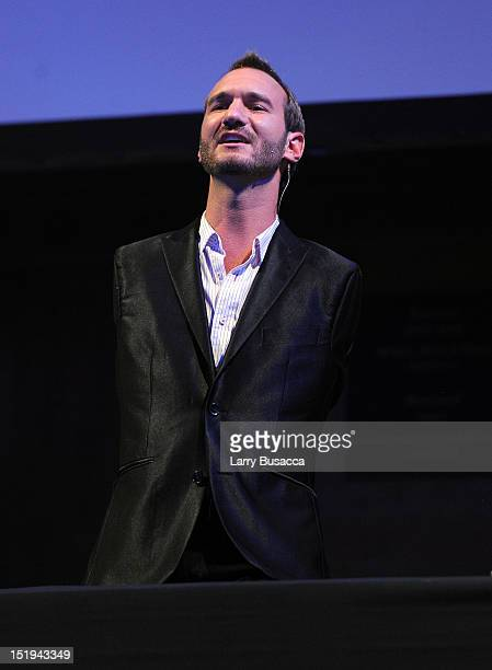 Author and inspirational speaker Nick Vujicic speaks on stage during The Novak Djokovic Foundation's inaugural dinner at Capitale on September 12...