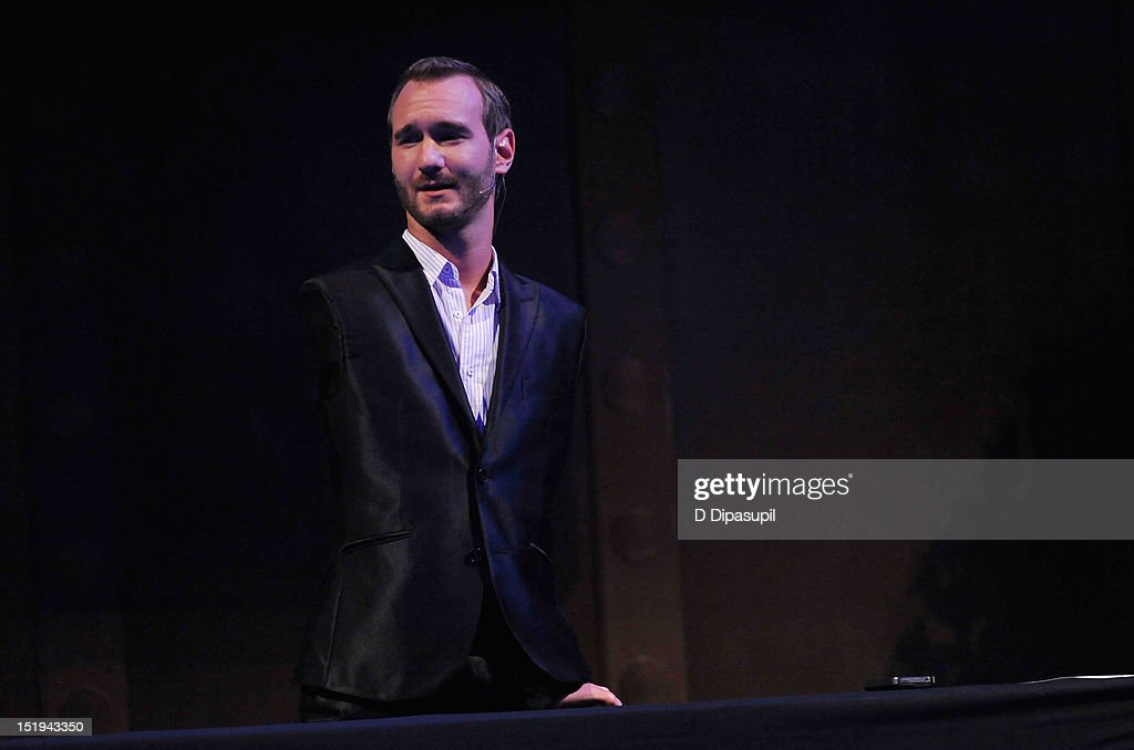 Author and inspirational speaker <a gi-track='captionPersonalityLinkClicked' href=/galleries/search?phrase=Nick+Vujicic&family=editorial&specificpeople=5126580 ng-click='$event.stopPropagation()'>Nick Vujicic</a> speaks on stage during The Novak Djokovic Foundation's inaugural dinner at Capitale on September 12, 2012 in New York City.