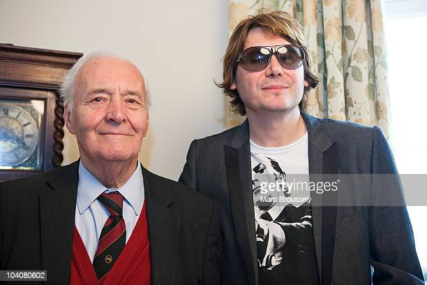 Author and Politician Tony Benn and musician Nicky Wire of the band Manic Street Preachers pose for a portrait after an interview for The Quietus on...
