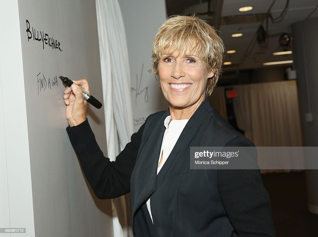 Author and swimmer Diana Nyad signs the wall at AOL Studios when she visits for AOL Build Presents Diana Nyad in New York on October 19 2015 in New...