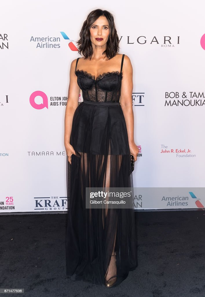 Author and TV host Padma Lakshmi attends as the Elton John AIDS Foundation commemorates its 25th year and honors founder Sir Elton John during the New York Fall Gala at Cathedral of St. John the Divine on November 7, 2017 in New York City.