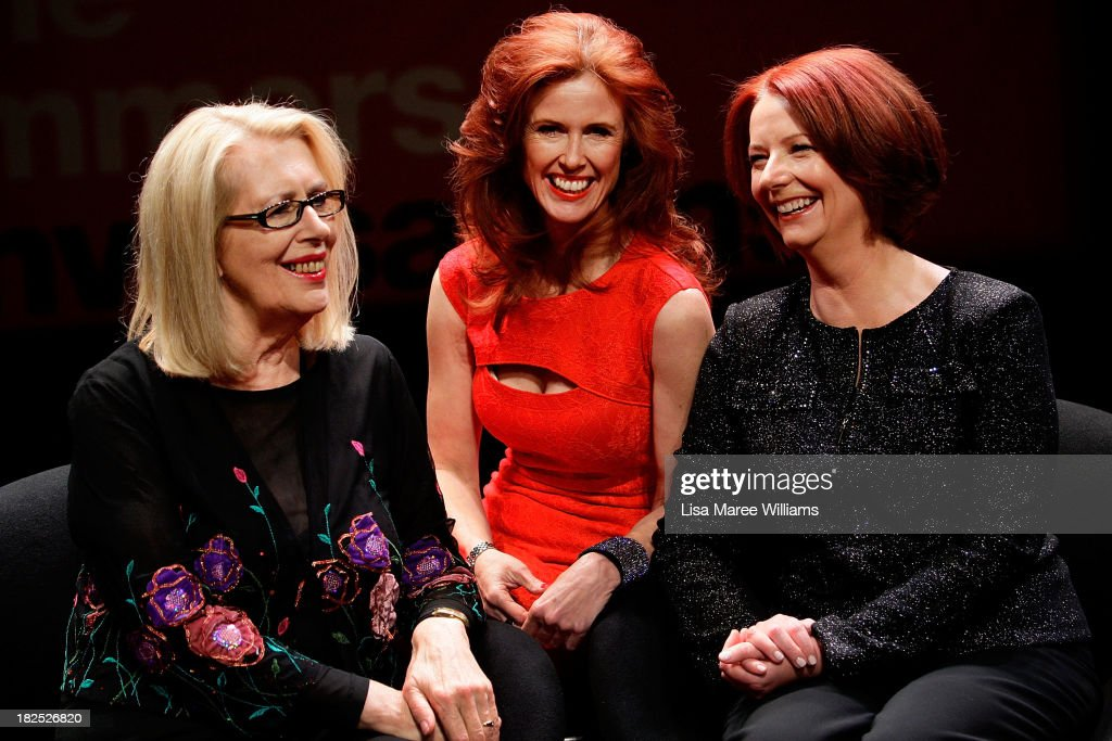 Author Anne Summers, Catriona Wallace and Former Australian Prime Minister <a gi-track='captionPersonalityLinkClicked' href=/galleries/search?phrase=Julia+Gillard&family=editorial&specificpeople=787281 ng-click='$event.stopPropagation()'>Julia Gillard</a> pose for a photo ahead of the inaugural 'Anne Summers Conversations Session' at the Sydney Opera House on September 30, 2013 in Sydney, Australia. Gillard will speak with journalist Anne Summers for 90 minutes and take questions from the audience during the event.