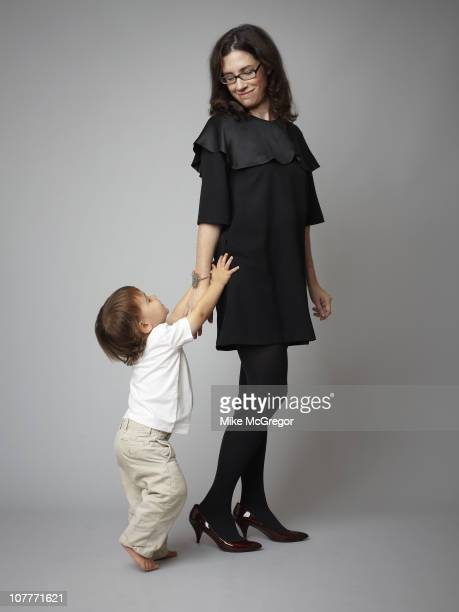 Author Annie Murphy Paul poses at a photo shoot with son Gus for the London Times on September 27 2010 in New Haven Connecticut Published image