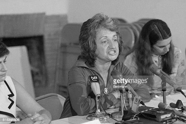 Author Betty Friedan the National strike Coordinator for the National Women's Strike coalition talks with newsmen here on August 25th The coalition...