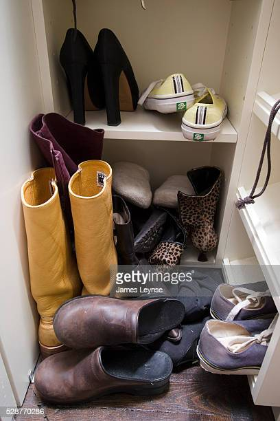 Author Candace Bushnell's shoe closet at her home on East 9th St in Manhattan