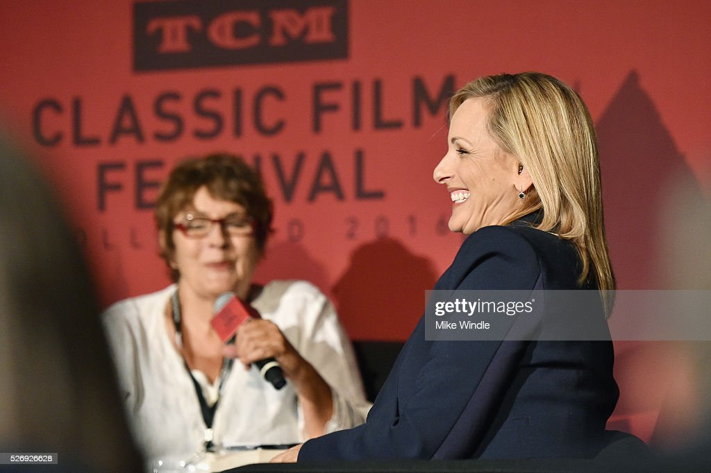Author Cari Beauchamp (L) and actress Marlee Matlin speak onstage at 'Children of a Lesser God' screening during day 4 of the TCM Classic Film Festival 2016 on May 1, 2016 in Los Angeles, California. 25826_008