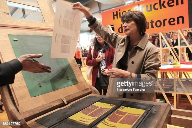 Author Catherine Millet at the printing press in the french pavilion at the 2017 Frankfurt Book Fair on October 11 2017 in Frankfurt am Main Germany...
