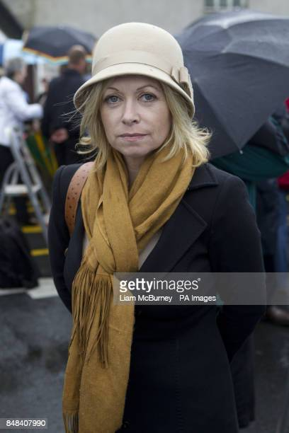 Author Cathy Kelly attends the funeral of Maeve Binchy at the Church of the Assumption Dalkey south Dublin
