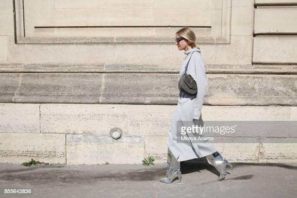 Author Celine Aagaard attends the Nina Ricci show as part of the Paris Fashion Week Womenswear Spring/Summer 2018 on September 29 2017 in Paris France