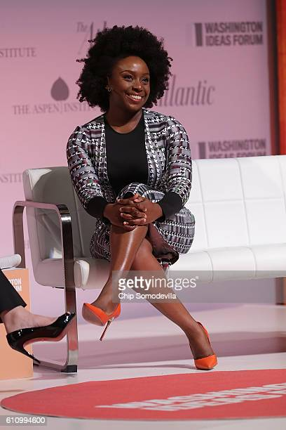 Author Chimamanda Ngozi Adichie is interviewed during the Washington Ideas Forum at the Harman Center for the Arts September 28 2016 in Washington DC...
