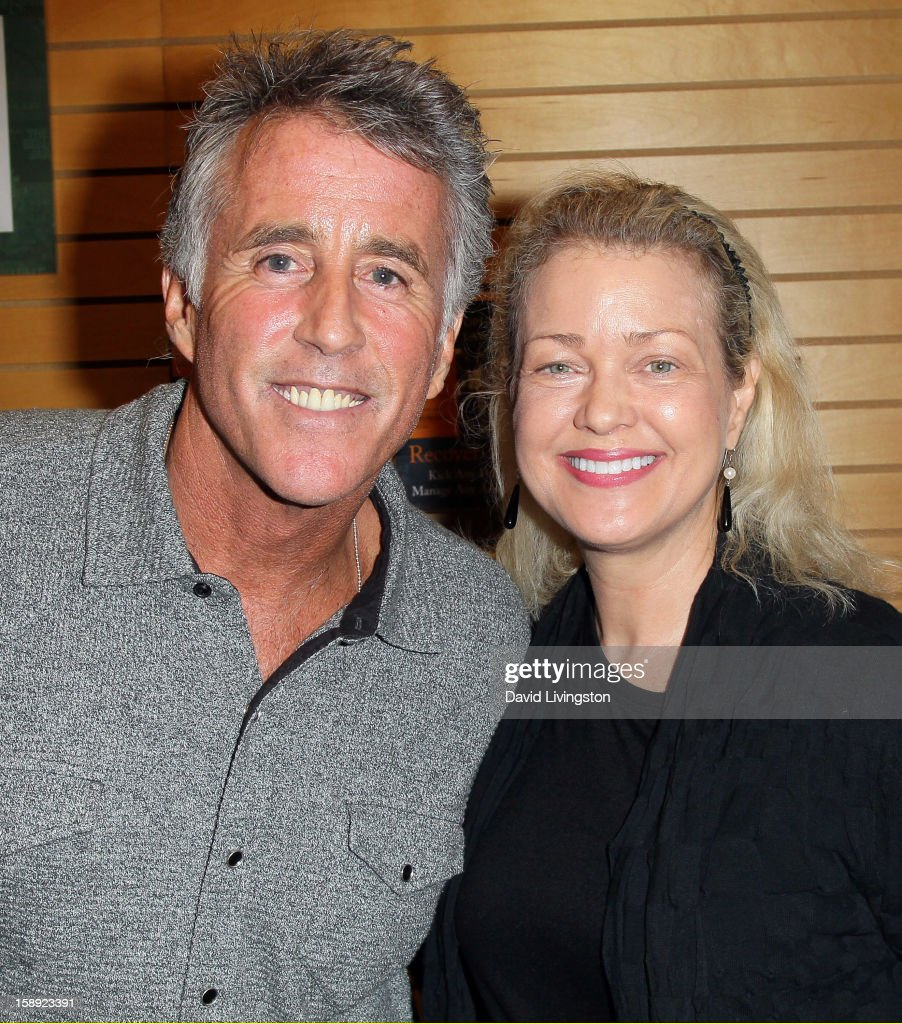 Author Christopher Kennedy Lawford (L) and actress Melody Anderson attend a signing for Lawford's book 'Recover to Live: Kick Any Habit, Manage Any Addiction' at Barnes & Noble 3rd Street Promenade on January 3, 2013 in Santa Monica, California.