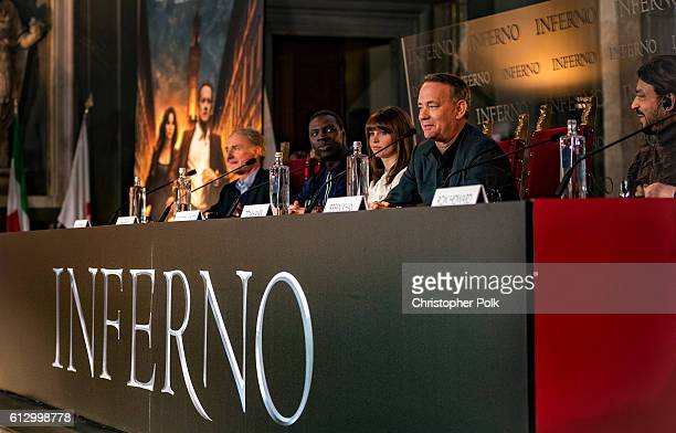 Author Dan Brown and actors Omar Sy Felicity Jones Tom Hanks Irrfan Khan and Ron Howard attend the INFERNO Photo Call Press Conference at The Hall of...