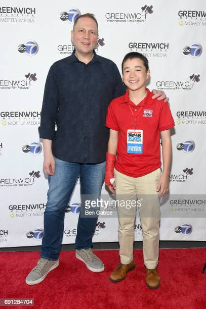 Author Dav Pilkey and Scholastic Kid Reporter Maxwell Surprenant attend the screening of Captain Underpants during Greenwich International Film...