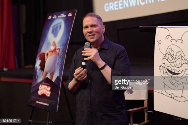 Author Dav Pilkey speaks to moviegoers after the screening of Captain Underpants during Greenwich International Film Festival Day 1 on June 1 2017 in...