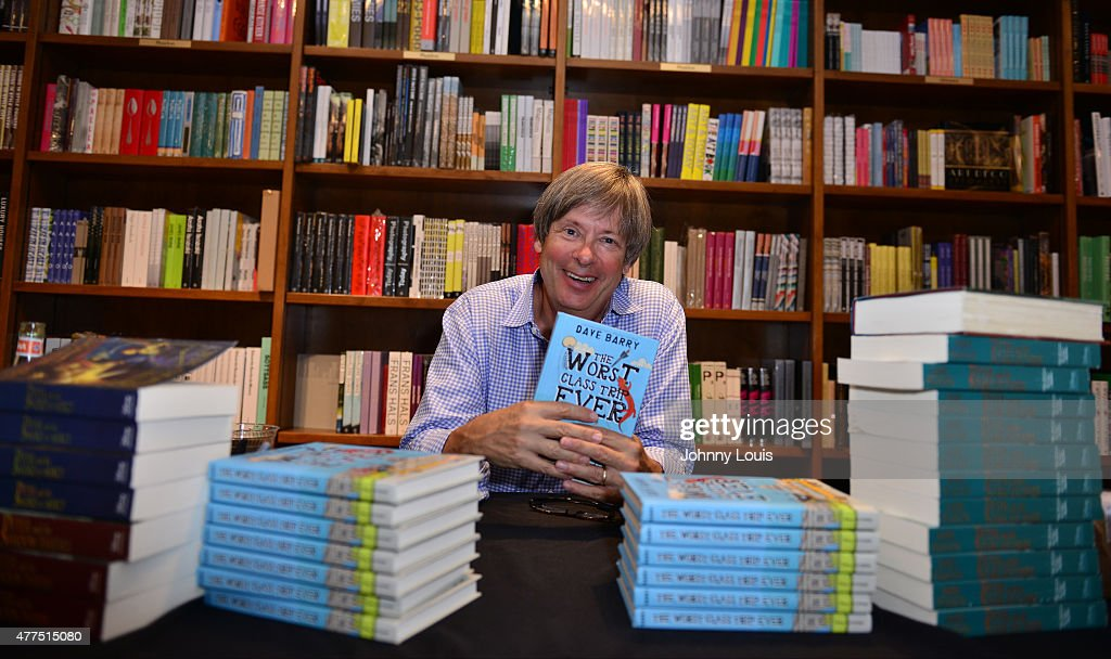 Author <a gi-track='captionPersonalityLinkClicked' href=/galleries/search?phrase=Dave+Barry&family=editorial&specificpeople=663731 ng-click='$event.stopPropagation()'>Dave Barry</a> greets fans and signs copies of his book ' The Worst Class Trip Ever ' at Books and Books-Gables on June 17, 2015 in Coral Gables, Florida.