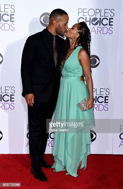 Author DeVon Franklin and actress Meagan Good attend the People's Choice Awards 2016 at Microsoft Theater on January 6 2016 in Los Angeles California