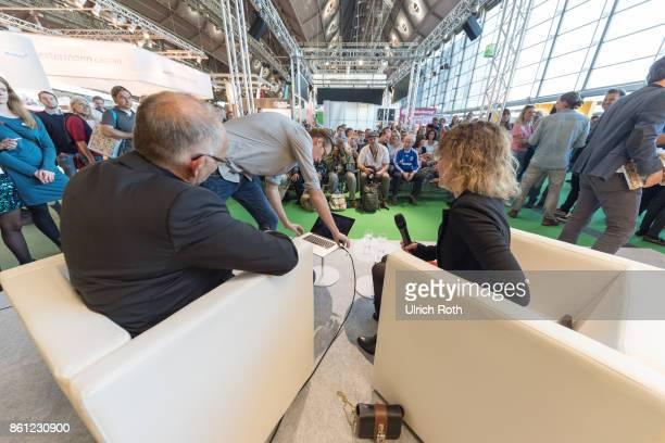 Author Dietrich SchulzeMarmeling speak via VideoChat with Huub Stevens at the Book Fair on October 14 2017 in Frankfurt am Main Germany