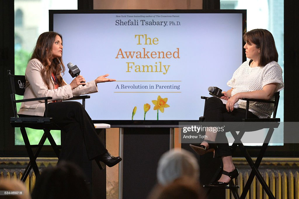 Author Dr. Shefali Tsabary (L) attends AOL Build Presents Dr. Shefali Tsabary discussing her new book 'The Awakened Family: A Revolution in Parenting' at AOL Studios In New York on May 26, 2016 in New York City.
