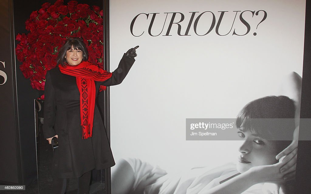 Author E. L. James attends the 'Fifty Shades Of Grey' New York fan first screening at Ziegfeld Theatre on February 6, 2015 in New York City.