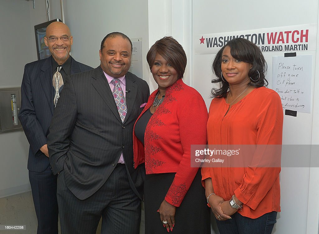 Author Earl Ofari Hutcherson, host <a gi-track='captionPersonalityLinkClicked' href=/galleries/search?phrase=Roland+Martin&family=editorial&specificpeople=5490103 ng-click='$event.stopPropagation()'>Roland Martin</a>, judge Mayblean Ephriam and journalist Erin Aubry Kaplan attend the taping of TV One's 'Washington Watch With <a gi-track='captionPersonalityLinkClicked' href=/galleries/search?phrase=Roland+Martin&family=editorial&specificpeople=5490103 ng-click='$event.stopPropagation()'>Roland Martin</a>' Hollywood Special at KCET Studios on January 31, 2013 in Hollywood, California.