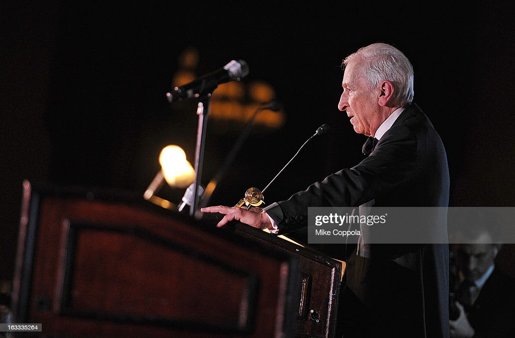 Author <a gi-track='captionPersonalityLinkClicked' href=/galleries/search?phrase=Gay+Talese&family=editorial&specificpeople=224015 ng-click='$event.stopPropagation()'>Gay Talese</a> speaks after receiving his award at the Table 4 Writers Foundation 1st Annual Awards Gala on March 7, 2013 in New York City.