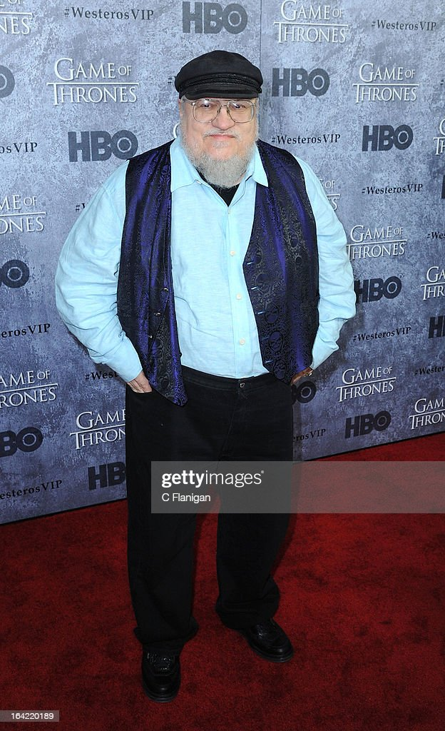 Author <a gi-track='captionPersonalityLinkClicked' href=/galleries/search?phrase=George+R.R.+Martin&family=editorial&specificpeople=7426691 ng-click='$event.stopPropagation()'>George R.R. Martin</a> arrives at the San Francisco Premiere For HBO's 'Game Of Thrones' Season 3 at Palace Of Fine Arts Theater on March 20, 2013 in San Francisco, California.