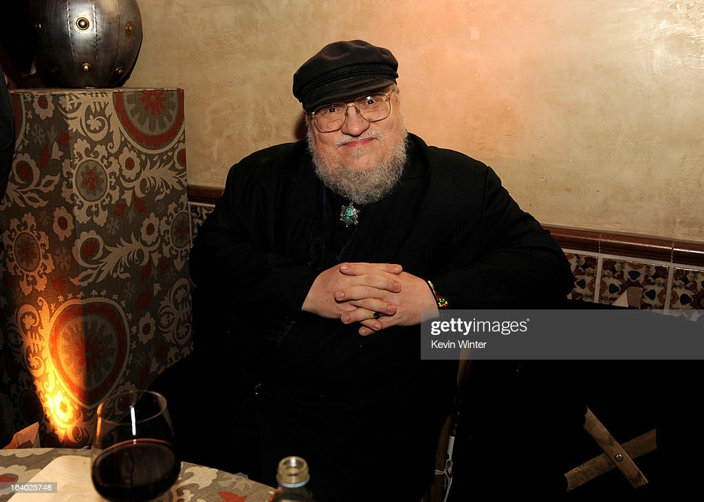 Author George R.R. Martin poses at the after party for the premiere of HBO's 'Game Of Thrones' at the Roosevelt Hotel on March 18, 2013 in Los Angeles, California.