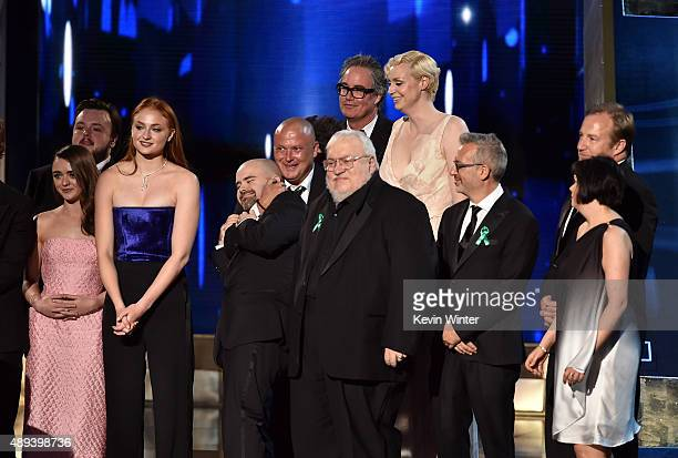 Author George RR Martin with cast and crew accept Outstanding Drama Series award for 'Game of Thrones' onstage during the 67th Annual Primetime Emmy...