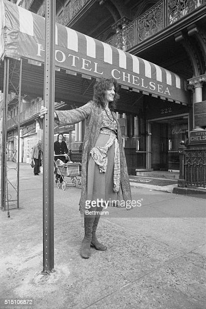 Author Germaine Greer shown outside of Chelsea Hotel where she is staying