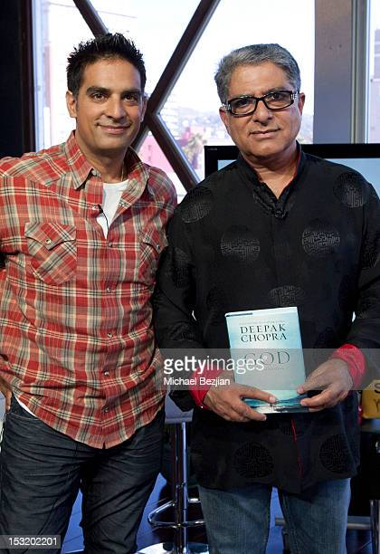 Author Gotham Chopra and philosopher Deepak Chopra attend 'What's Trending' on October 1 2012 in Hollywood California