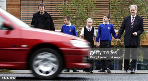 Author Ian Rankin Thomas Deans Kimberly Wallace Andrew Whiteford and Scottish Transport Minister Stewart Stevenson during the launch of a new road...