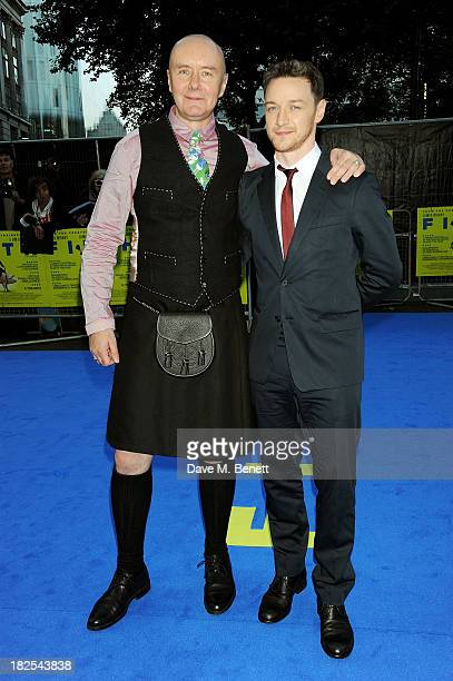 Author Irvine Welsh and James McAvoy attend the London Premiere of 'Filth' at the Odeon West End on September 30 2013 in London England
