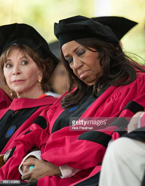 Author Isabel Allende and Aretha Franklin Queen of Soul during the Harvard University Commencement Ceremony in Cambridge MA on May 29 2014 Allende...