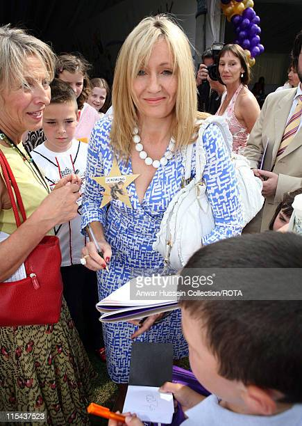 Author J K Rowling signs autographs during Children's Garden Party at Buckingham Palace in London Great Britain