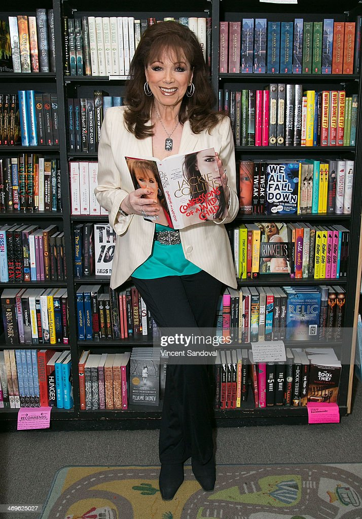 Author Jackie Collins signs her new novel 'Confessions Of A Wild Child' at Book Soup on February 15 2014 in West Hollywood California