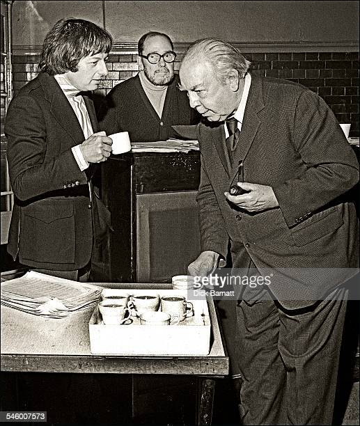 Author JB Priestley with musician composer and conductor Andre Previn and and lyricist Johnny Mercer behind during rehearsals for a musical version...