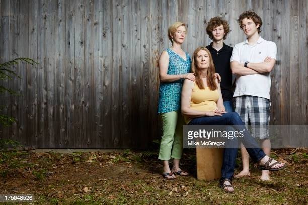 Author Jennifer Finney Boylan and family wife Deedie sons Sean and Zach are photographed for The London Times on June 3 2013 in Rome Maine PUBLISHED...