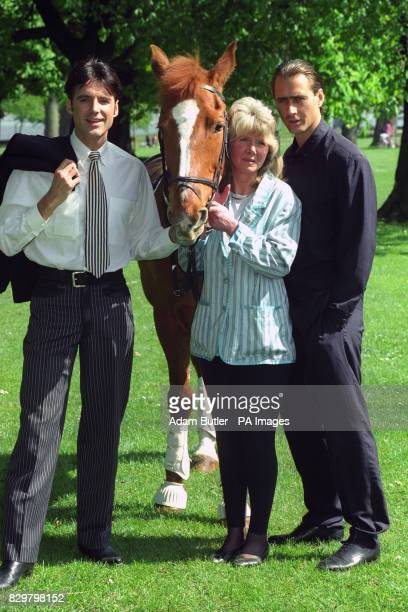 Author Jilly Cooper with two of the stars of the new Anglia TV miniseries based on her book Riders Michael Praed plays Jake Lovell while Marcus...