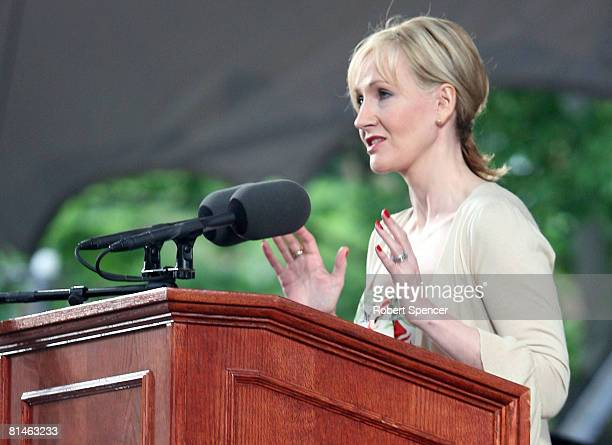 Author JK Rowling delivers an address at Harvard University's commencement ceremonies June 5 in Cambridge Massachusetts Rowling who wrote the popular...