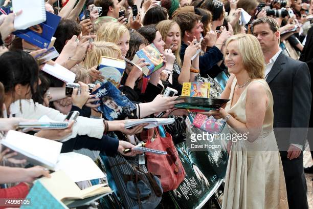 Author JK Rowling greets fans at the european premiere of 'Harry Potter And The Order Of The Phoenix' at Odeon Leicester Square on July 3 2007 in...