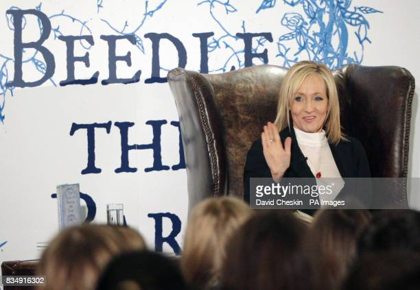 Author JK Rowling reads extracts from her new book at a tea party for 200 schoolchildren in Edinburgh's Parliament Hall
