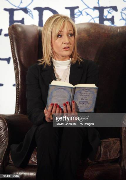 Author JK Rowling reads extracts from her new book to around 200 schoolchildren at a tea party today at Edinburgh's Parliament Hall