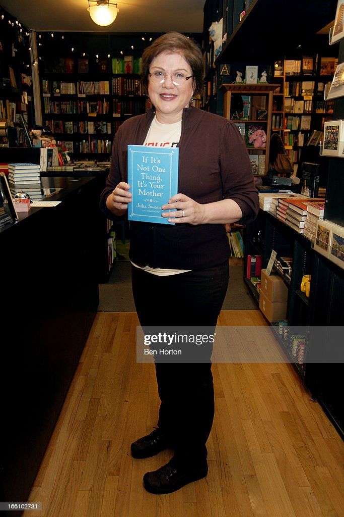 Author <a gi-track='captionPersonalityLinkClicked' href=/galleries/search?phrase=Julia+Sweeney&family=editorial&specificpeople=1534157 ng-click='$event.stopPropagation()'>Julia Sweeney</a> at a book signing for her new book 'If It's Not One Thing, It's Your Mother' at Book Soup on April 8, 2013 in West Hollywood, California.